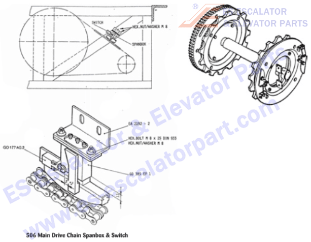 ESOTIS GO2215H13 Main Drive Bearing with Hardware