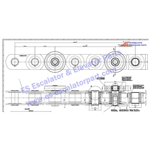 kone KM50049995G01 step chain 45 RO-A-LF-PC 4000LG 2STR