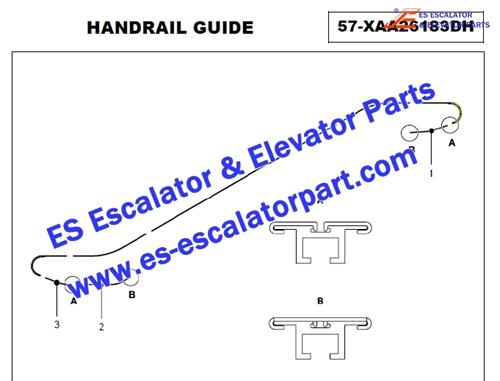 Xizi Otis XO-508 curved XAA402TW24 Return side handrail guide track