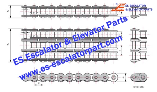 Thyssenkrupp Escalator Parts Handrail drive chain